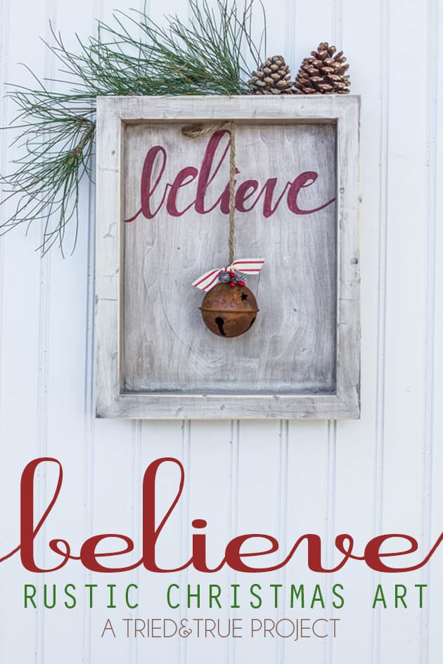 """Make this beautiful """"Believe"""" Rustic Christmas Art for your home this year!"""