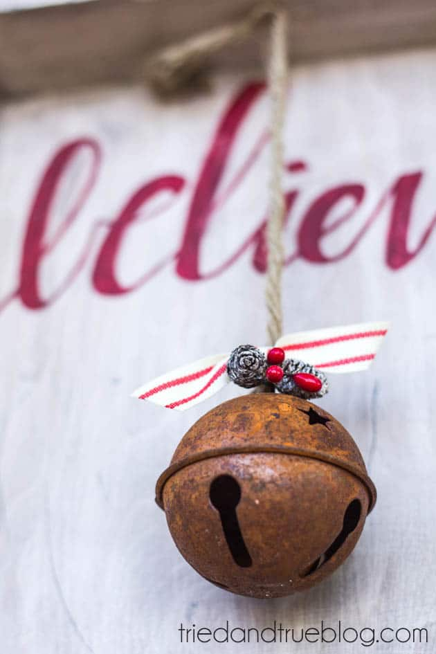 """""""Believer"""" Rustic Christmas Art - Close Up"""