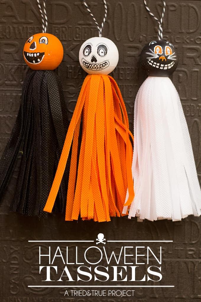 Vintage halloween tassels tried true for Halloween decorations crafts to make