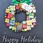 Use those inexpensive miniature gift decorations to create this Happy Holiday Gift Wreath!