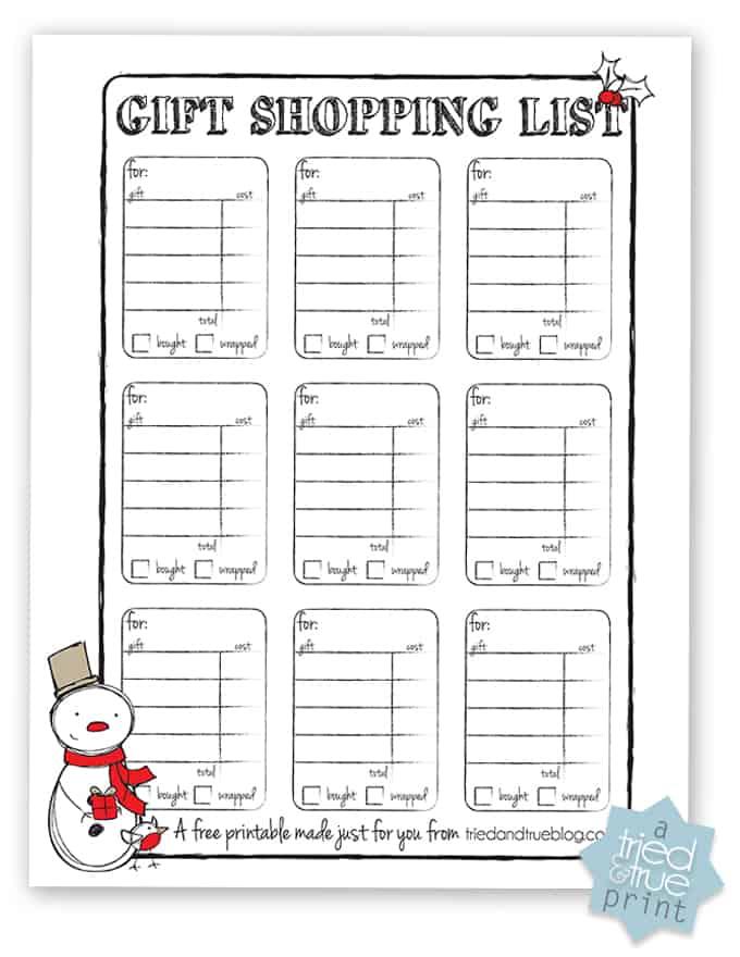 Gift Shopping List Free Printable - Print