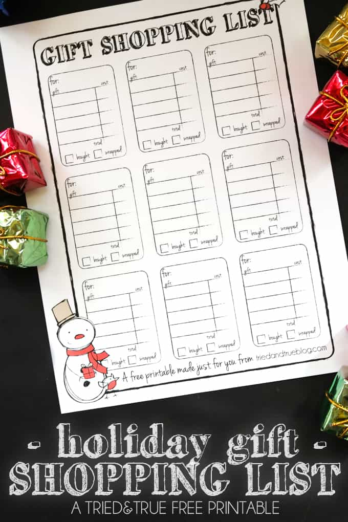 Gift Shopping List Free Printable - Perfect for organizing during the gift giving season!