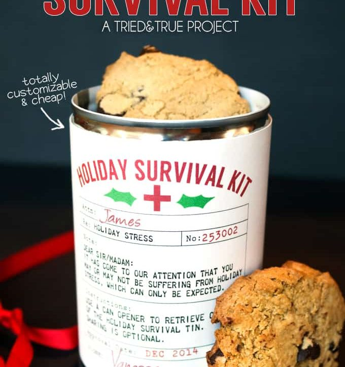 Holiday Survival Kit - The perfect easy and inexpensive gift! Can be filled with candies, cookies, or any other goodies!