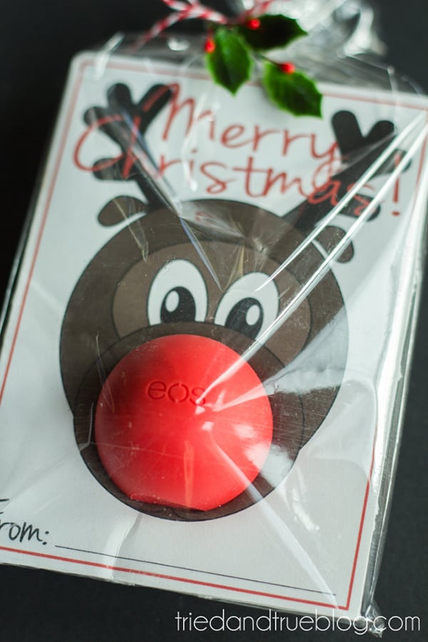 Gift card with image of Rudolph with an EOS lip balm as his nose.