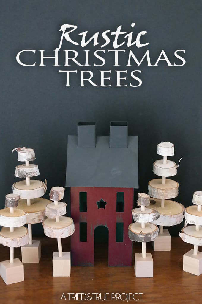 Make these adorable Rustic Christmas Trees to decorate your holiday mantel this year!