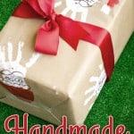 Santa Handprint Handmade Wrapping Paper