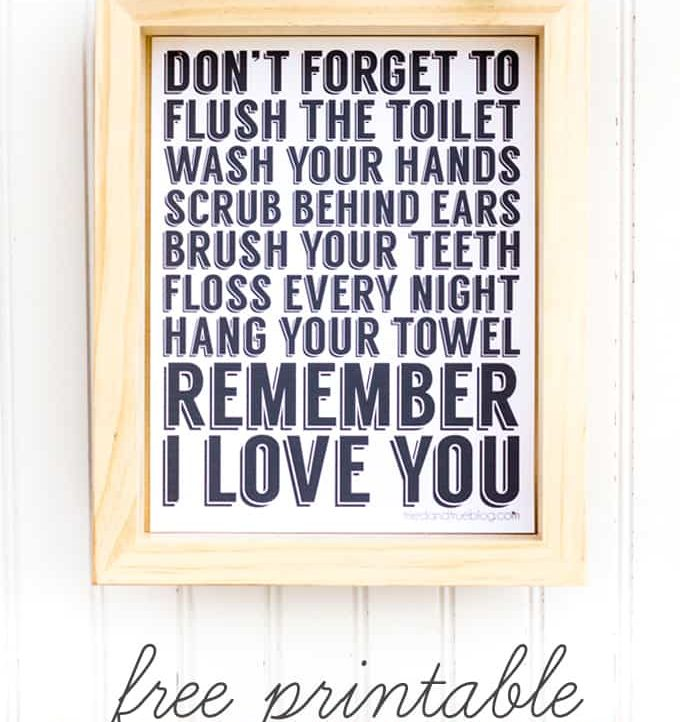 """""""Remember I Love You"""" Free Bathroom Art to remind your kids about the really important things. Would look great hanging on my bathroom wall! #johnsonspartners"""
