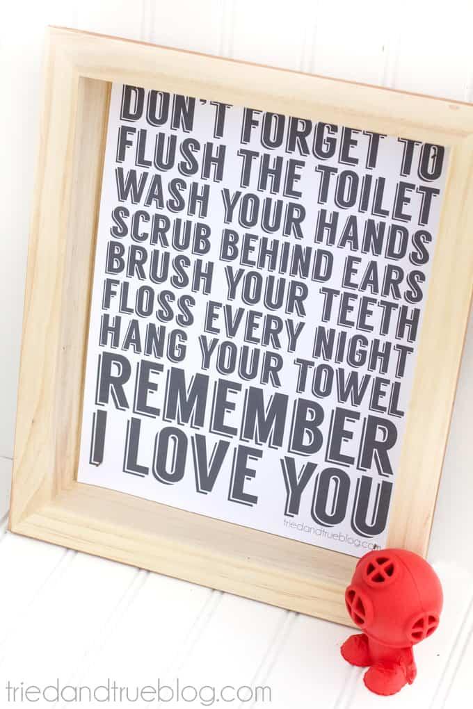"""Remember I Love You"" Free Bathroom Art - Free Printable"
