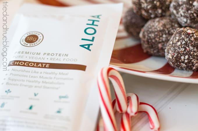 Healthy Peppermint Chocolate Protein Balls - Aloha Protein Powder