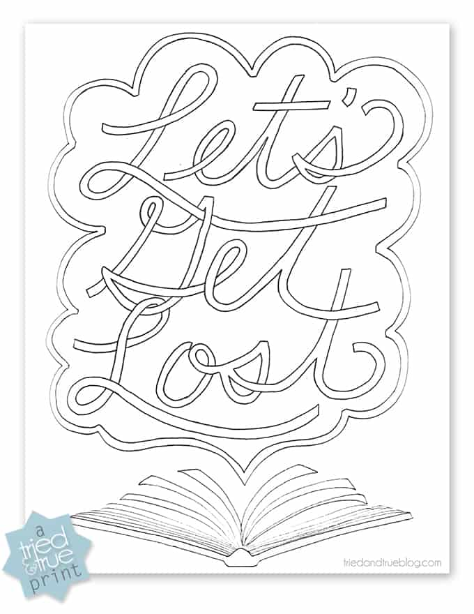 Digital copy of the Book Lovers Free Coloring Page.
