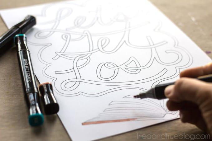 """""""Let's Get Lost"""" Free Coloring Print - Coloring / triedandtrueblog.com"""