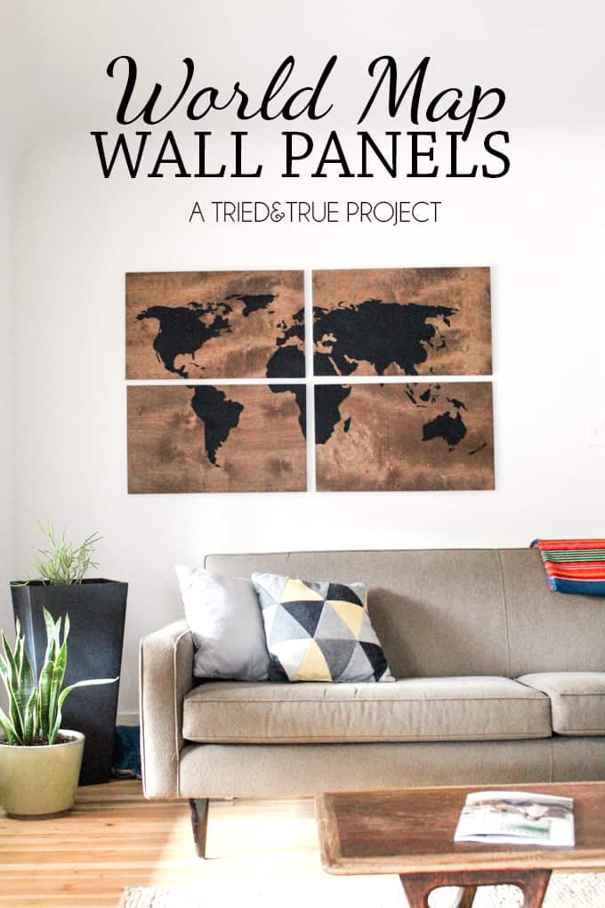 World Map Wall Art DIY - Make this large art piece with just a few supplies!   triedandtrueblog.com