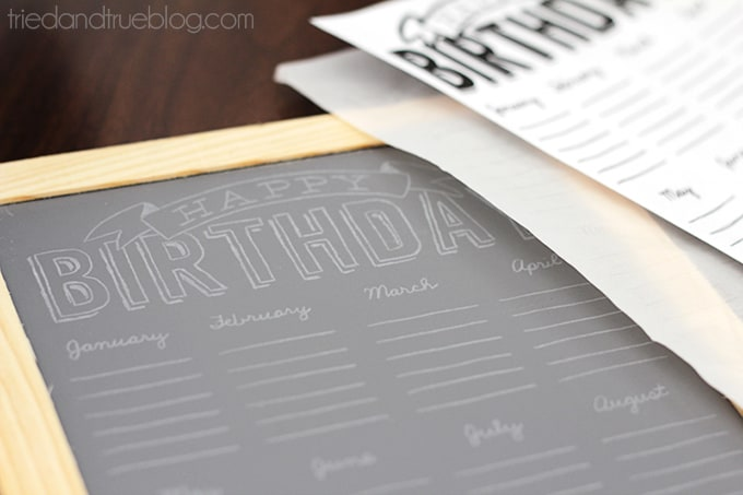 DIY Chalkboard Birthday Calendar  - Graphite