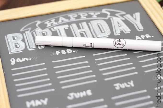 DIY Chalkboard Birthday Calendar  - Permanent Marker
