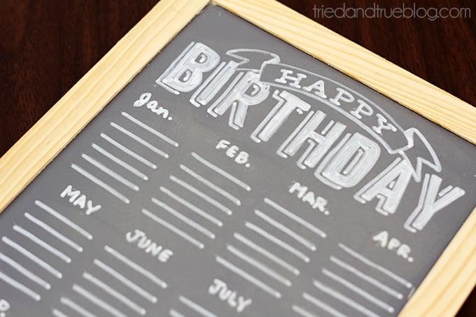 DIY Chalkboard Birthday Calendar  - Ready!