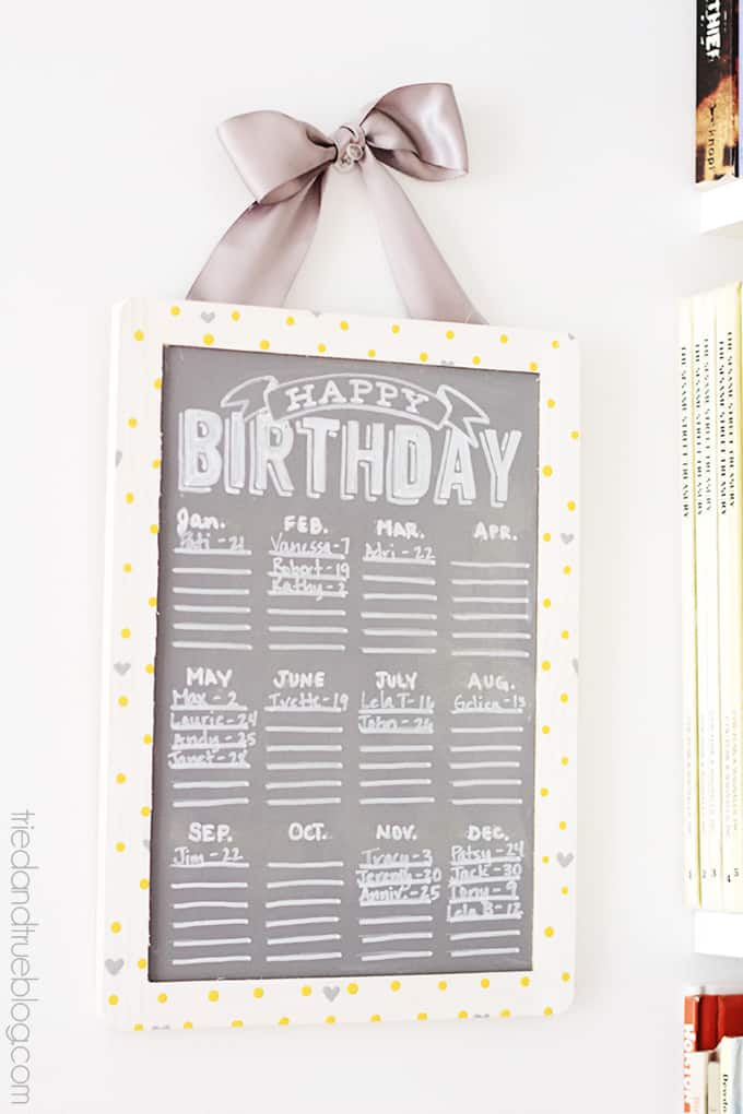 DIY Chalkboard Birthday Calendar  - Embellished