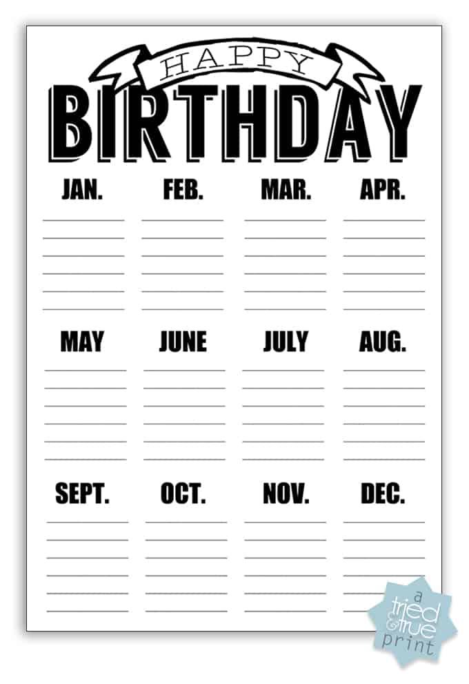 DIY Chalkboard Birthday Calendar  - Printable