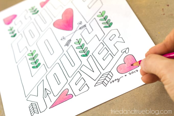 """""""Love You Forever"""" Free Coloring Print - Colored Pencils"""
