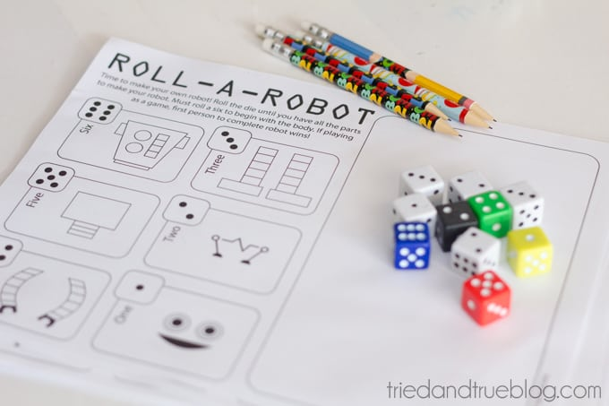 Throwing An Imagicademy Math Party - Roll-A-Robot Printable