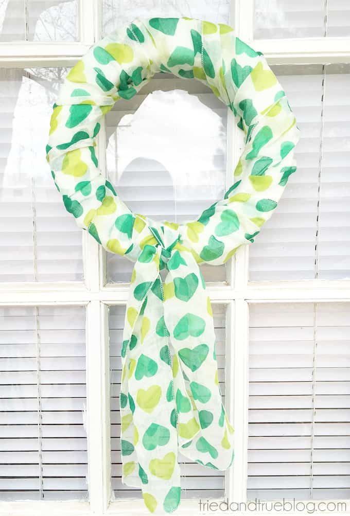 St. Patrick's Day Five Minute Scarf Wreath - Hanging