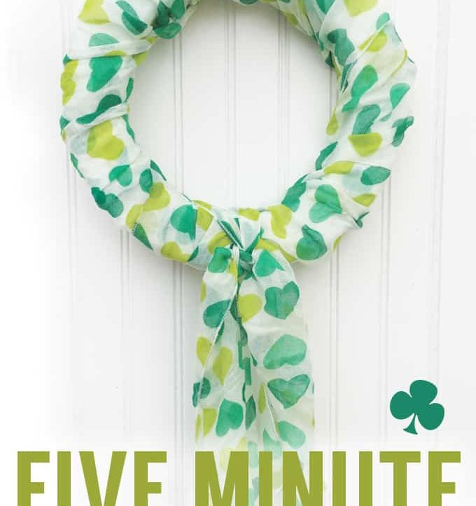 Make this super easy wreath for St. Patrick's Day! Only takes a styrofoam wreath, a scarf, and five minutes!