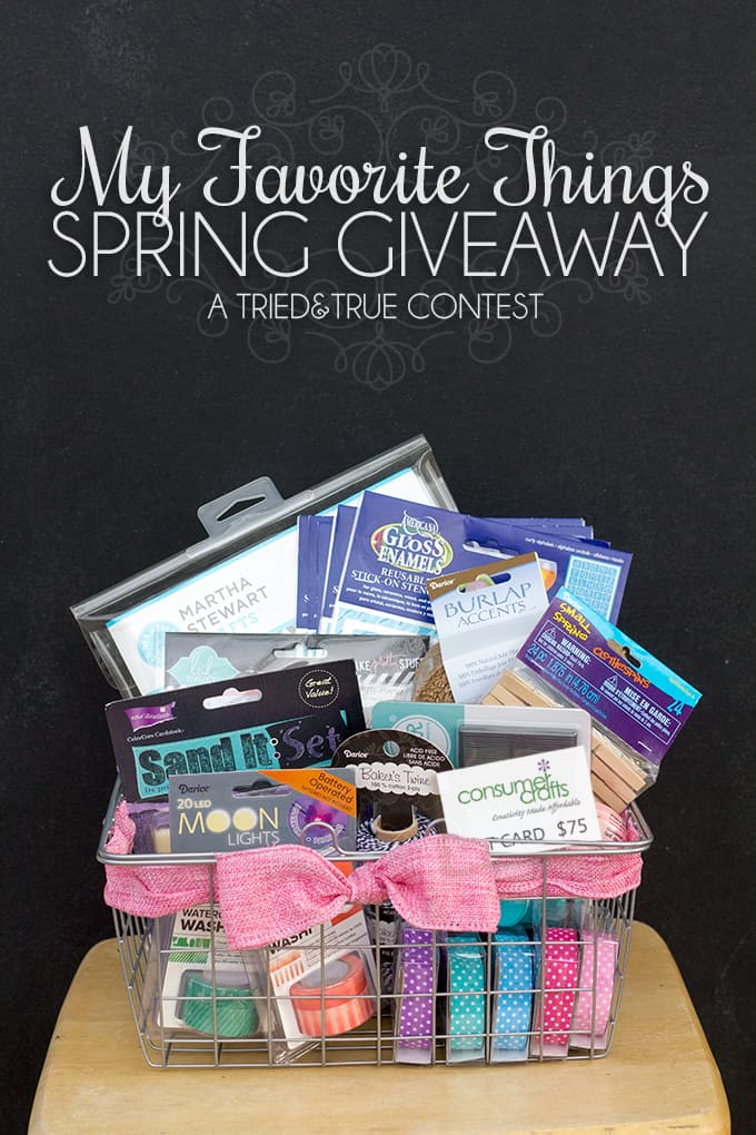 Enter the My Favorite Things Spring Giveaway from Tried & True to win a basket of fun crafty supplies as well as a $75 gift certificate to Consumer Crafts!