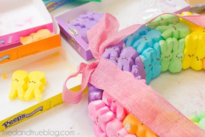 Rainbow Bunny Peeps® Wreath - Ribbon