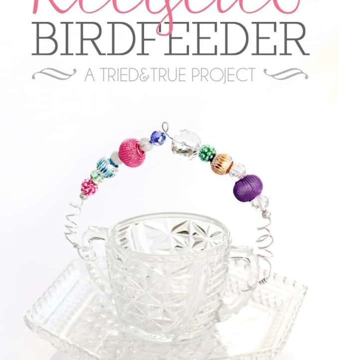 Make this super easy Recycled Bird Feeder in less than 15 minutes! Perfect for Spring!