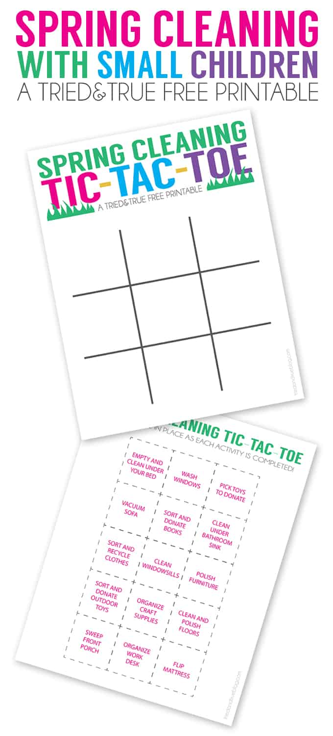 Spring Cleaning with Small Children - Free Tic Tac Toe Game