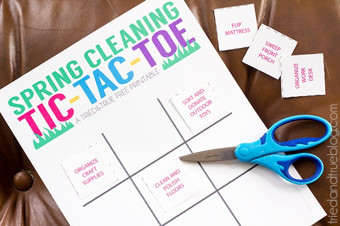 Spring Cleaning with Small Children - Tic Tac Toe