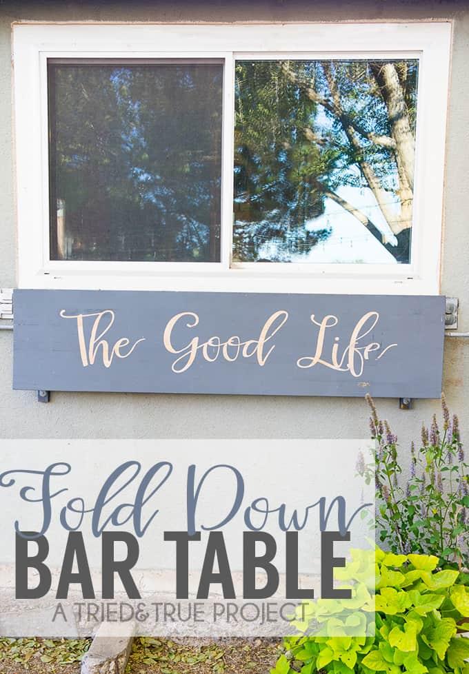 Make this functional Outdoor Folding Bar Shelf