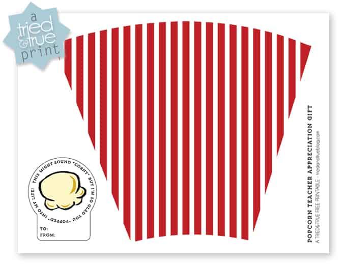 Popcorn Teacher Appreciation Gift - Color Free Printable