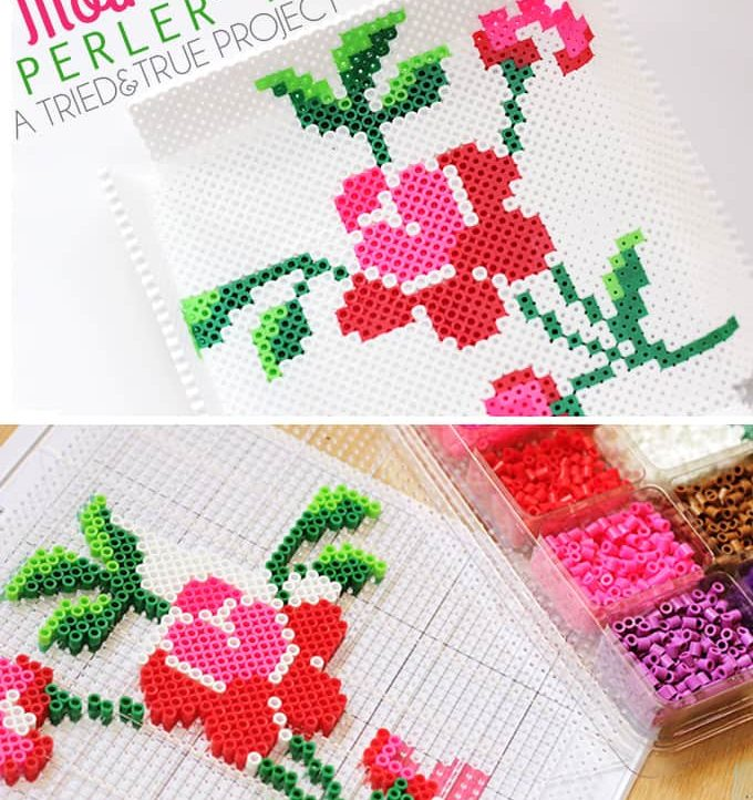 Make this beautiful Mother's Day Perler Tray! Includes free printable template.
