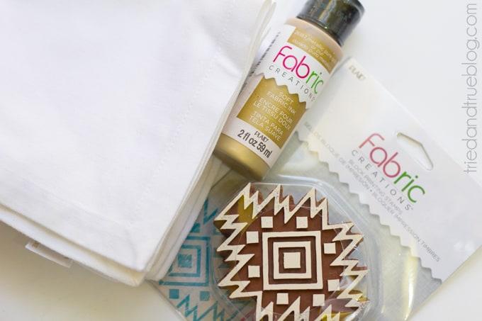 Gold Tribal Napkins DIY - Supplies