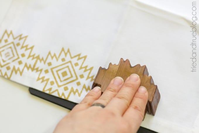 Gold Tribal Napkins DIY - Press