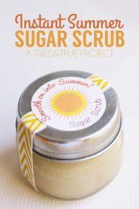 Make this Instant Summer Sugar Scrub with just two ingredients! Perfect for dry and cracked skin!