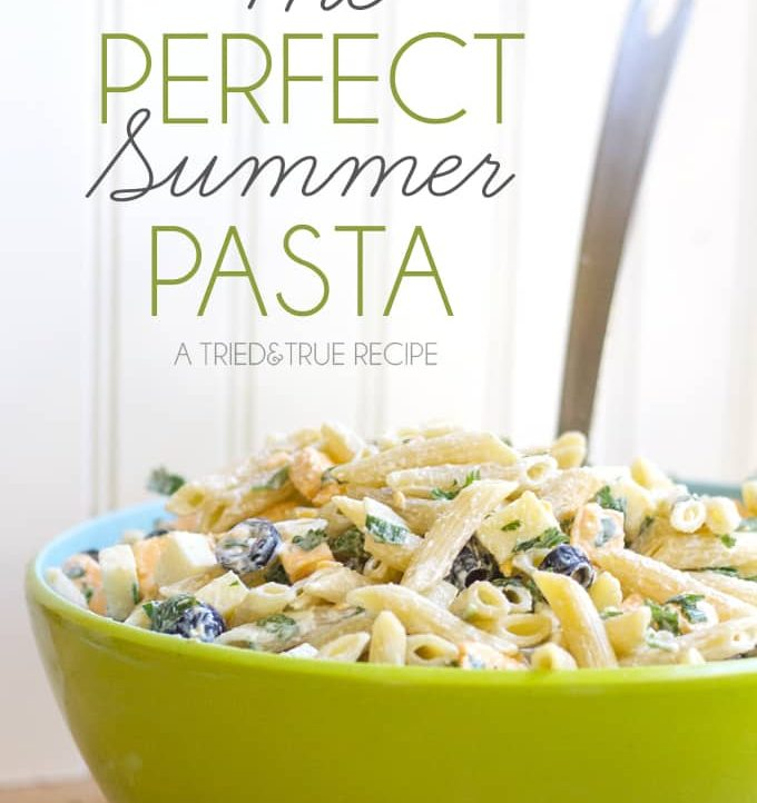 Make The Perfect Summer Pasta for your next picnic! Super easy to put together and I promise everyone is going to LOVE it!