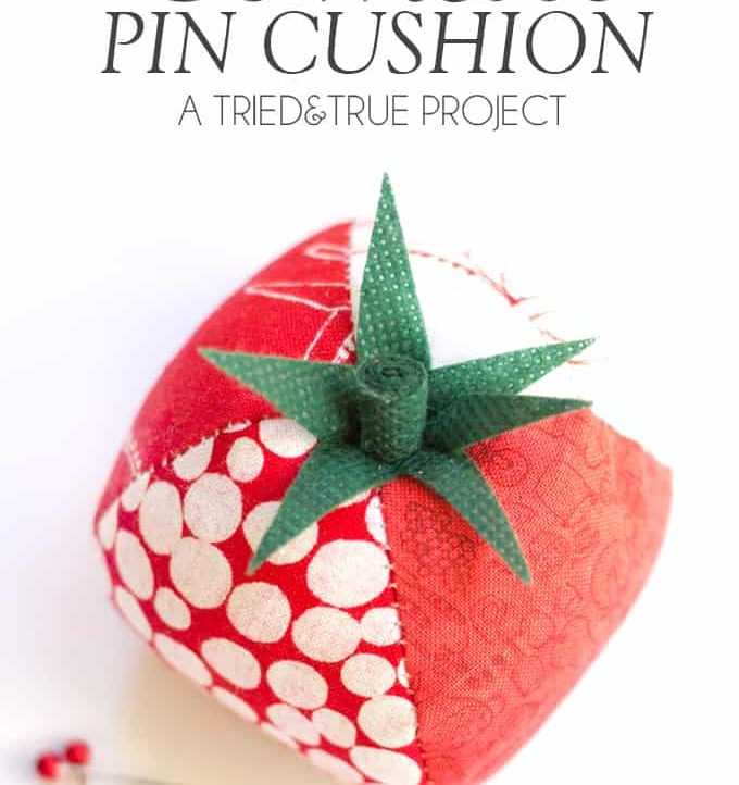 Keep track of your sewing pins with this adorable Quilted Tomato Pin Cushion! Includes free pattern to make it super easy to make!