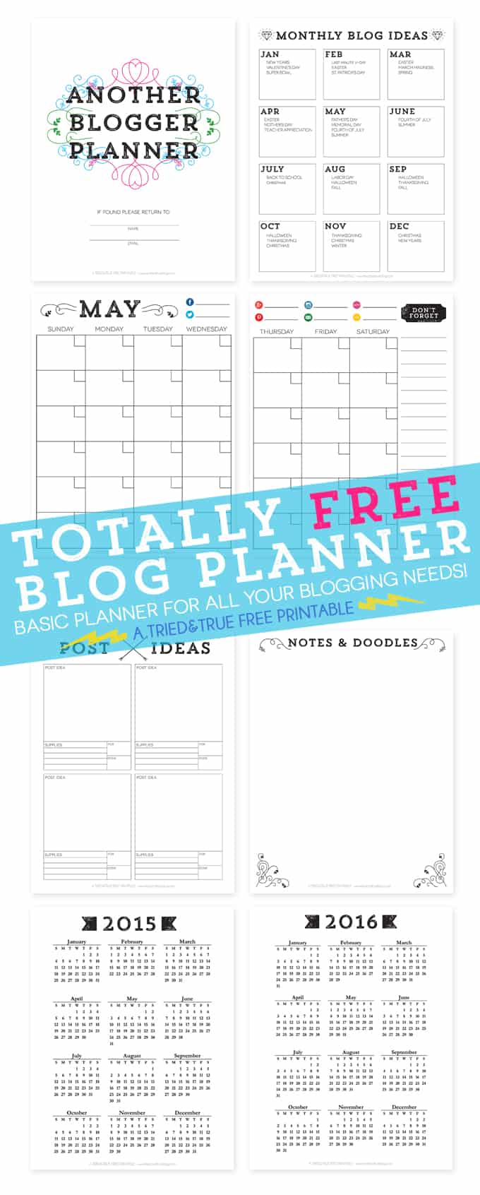 Totally Free Blog Planner - Free printable from Tried & True