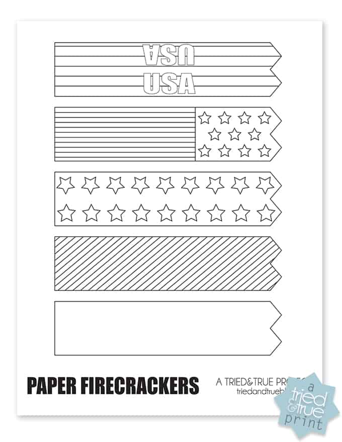 Paper Fireworks Free Printable - Worksheet
