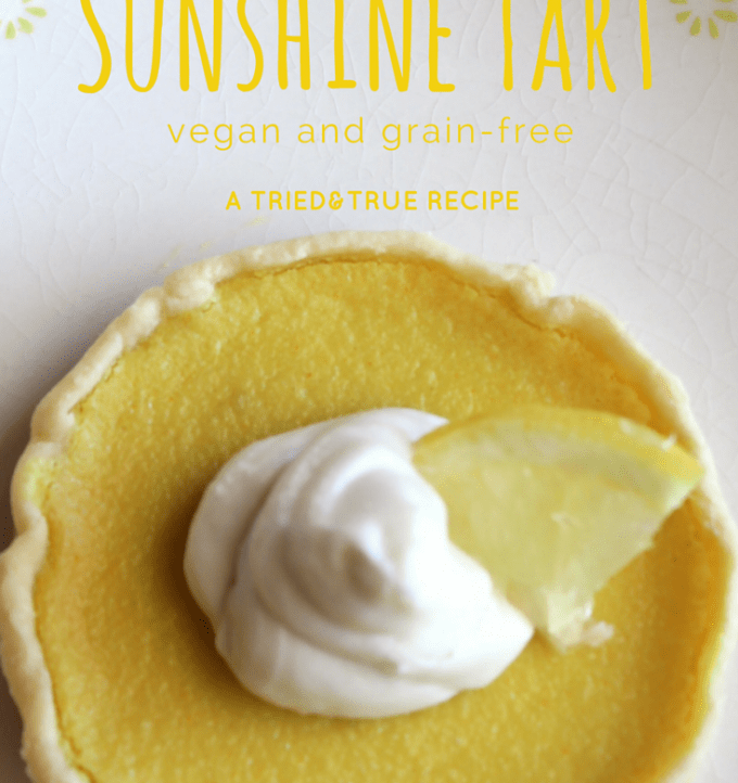 Make this delicious Sunshine Lemon Tart in a mason jar lid! Vegan and grain free.