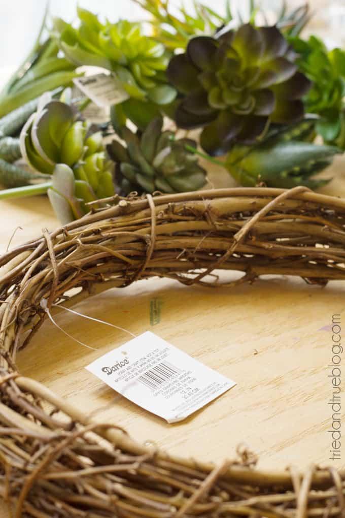 Easy Succulent Wreath - Supplies