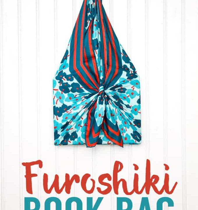 Super easy tutorial on a Furoshiki Book Bag! Use a scarf to carry and gift a book!
