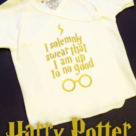 """Dress your future Potterhead in style with this """"Up To No Good"""" Harry Potter Baby Onesie Silhouette file. Accio cuteness!"""