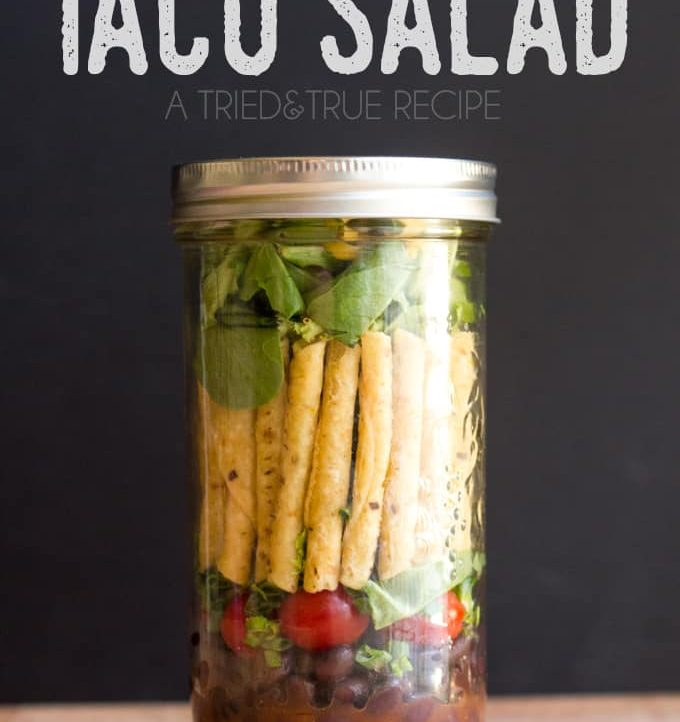 Make this easy Mason Jar Taco Salad to help you eat healthier on the road!