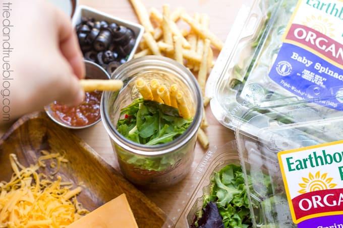 Mason Jar Taco Salad - Fill