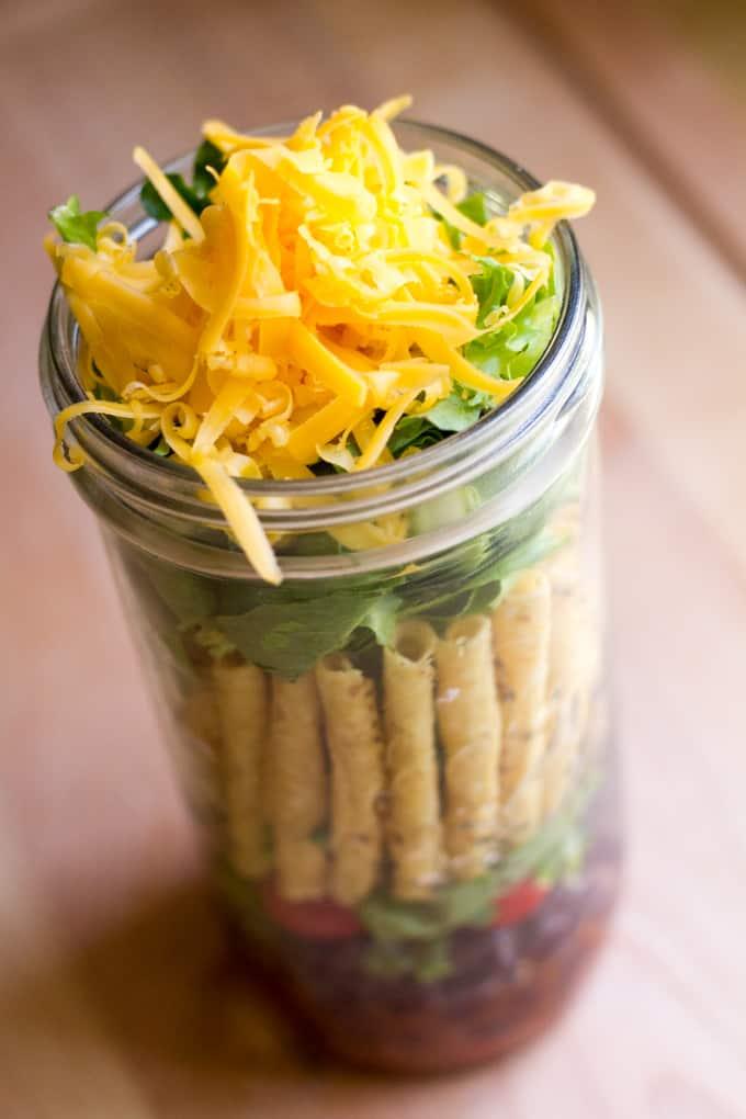Mason Jar Taco Salad - Packed