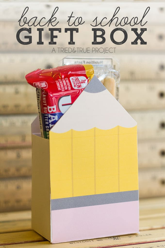 Celebrate your kids' first day back at school with this fun Pencil Gift Box filled with their favorite snacks!