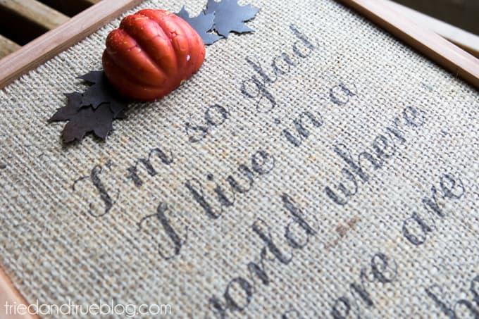 DIY Autumn Burlap Sign - Embellish