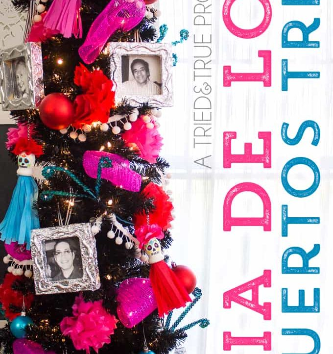 This bright and festive Dia de los Muertos Tree is the perfect way to remember your loved ones! Includes instructions on how to make custom ornaments.